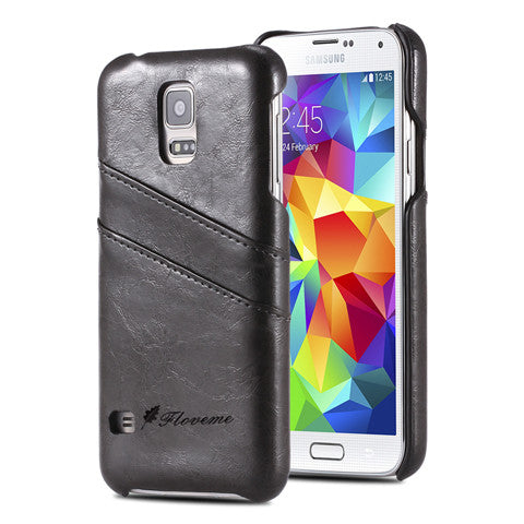PU Oil wax lines plug-in card Case for Samsung Galaxy S5 - CELLRIZON