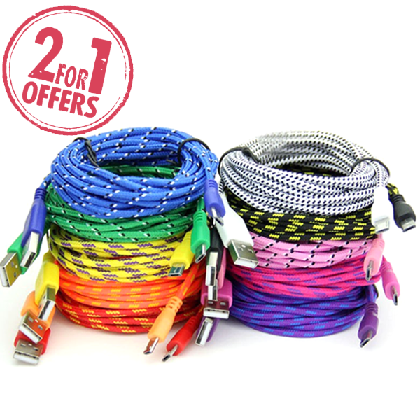 2 Pack: 10 Feet Fiber Cloth Sync & Charge USB Android Cable - Assorted Colors