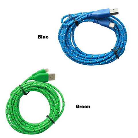 2 Pack: 10 Feet Fiber Cloth Sync & Charge USB Android Cable - Assorted Colors - CELLRIZON  - 3