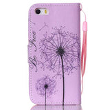 Purple Dandelion PU Stand Case For Apple iPhone 5s - CELLRIZON