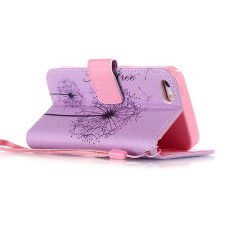 Purple Dandelion PU Stand Case For Apple iPhone 6 Plus - CELLRIZON