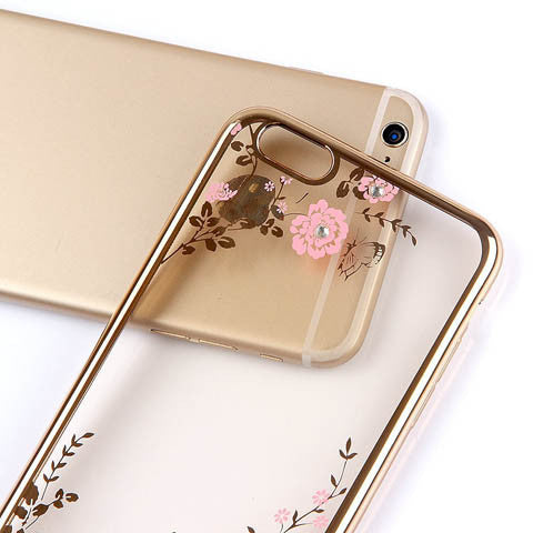 Golden Electroplate Plating Frame TPU Soft Silicone Bumper Case Cover for iPhone 7 4.7'' or Plus 5.5""