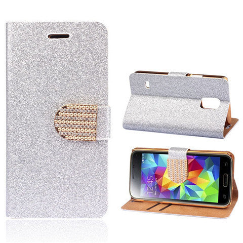 Bling Faux Leather Stand Case for Samsung S5 - Rama Deals - 3