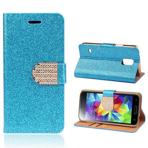 Bling Faux Leather Stand Case for Samsung S5 - Rama Deals - 4
