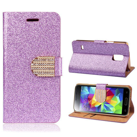 Bling Faux Leather Stand Case for Samsung S5 - Rama Deals - 5
