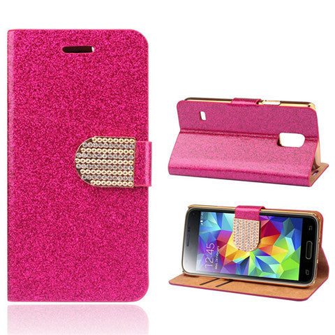 Bling Faux Leather Stand Case for Samsung S5 - Rama Deals - 6