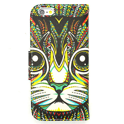 Cat Face Side Flip synthetic Leather Case for iPhone 6 - CELLRIZON