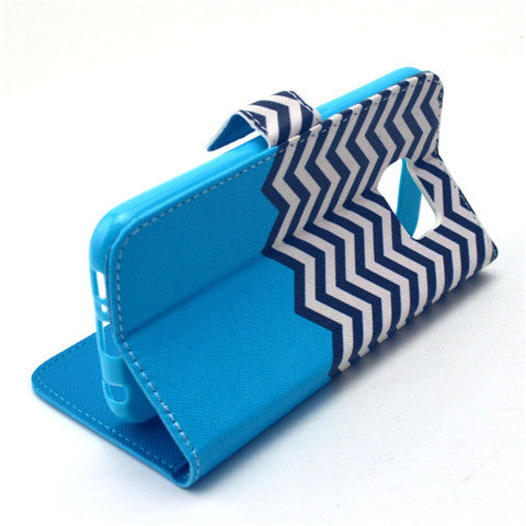 Blue Waves Stand Imitation Leather Case for Samsung S6/S6 edge - CELLRIZON