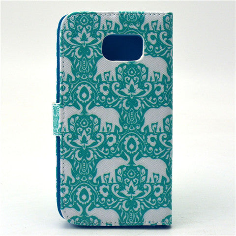 Green Eleplant Stand Leather Case For Samsung S6/S6 Edge plus - CELLRIZON  - 4