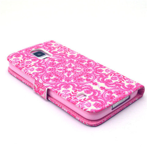 Pink Flower Stand Leather Case For Samsung S5 - CELLRIZON