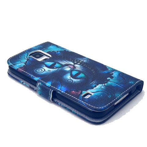 Blue Cat Stand Artificial  Leather Case for Samsung S5 - CELLRIZON