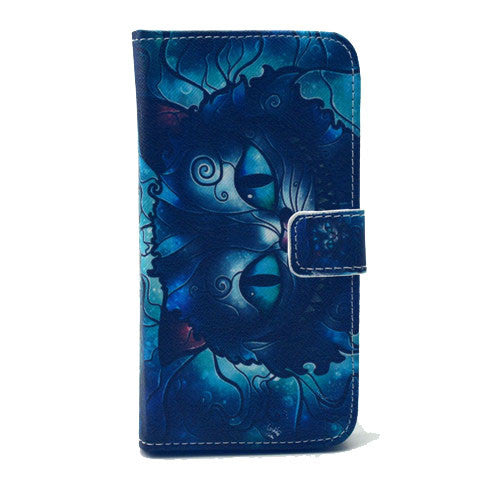 Blue Cat Stand Artificial Leather Case for Samsung S6 - CELLRIZON