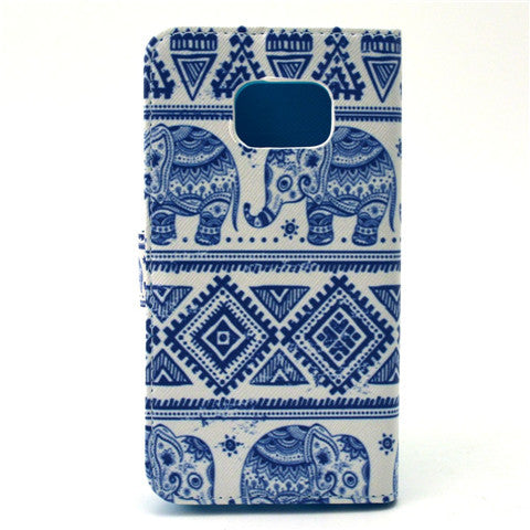 White Elephant Stand Leather Case For Samsung S6 Edge - CELLRIZON