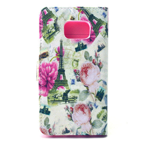 Flower Tower Stand Leather Case For Samsung S6 Edge - CELLRIZON