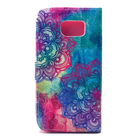 Red flowers Faux Leather Case For Samsung S6 - CELLRIZON