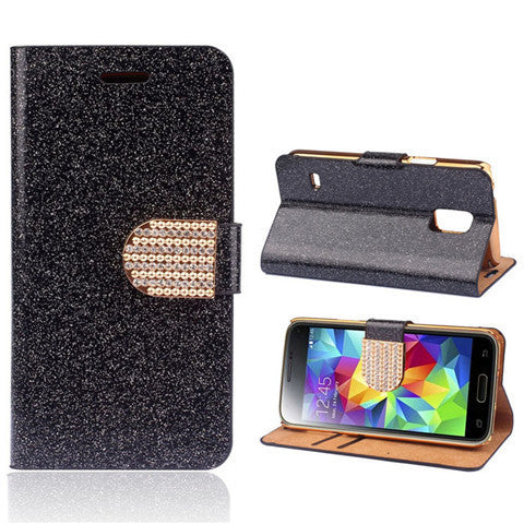 Bling Faux Leather Stand Case for Samsung S5 - Rama Deals - 7