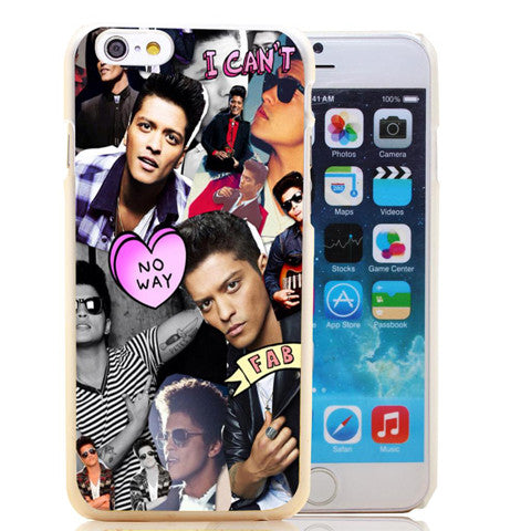 Bruno Mars Singer Celebrity Pattern Hard Black Case Back Cover For iPhone