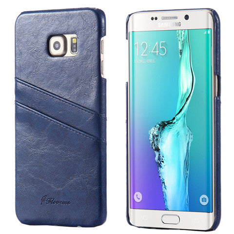 PU Oil wax lines plug-in card Case for Samsung Galaxy S6 edge Plus - CELLRIZON