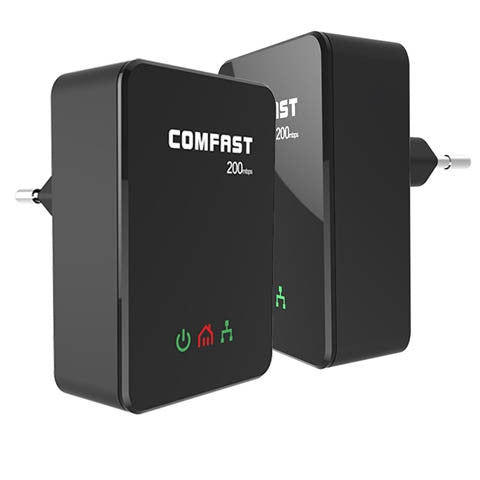 200Mbps COMFAST 2.4GHz Mini PlcHome EU Plug Network Powerline Adapter - CELLRIZON