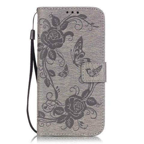Clearance Butterfly Flower Wallet Case For Samsung Galaxy S6 series