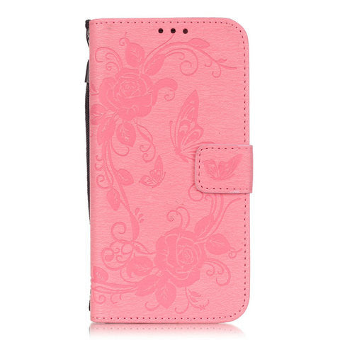 Butterfly Flower Wallet Case For Samsung Galaxy S6 series - CELLRIZON