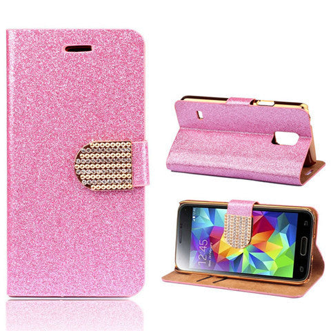 Bling Faux Leather Stand Case for Samsung S5 - Rama Deals - 8