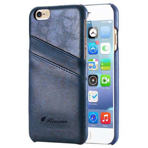 PU Oil Wax Lines Plug-in Card Case for iPhone 6 - CELLRIZON