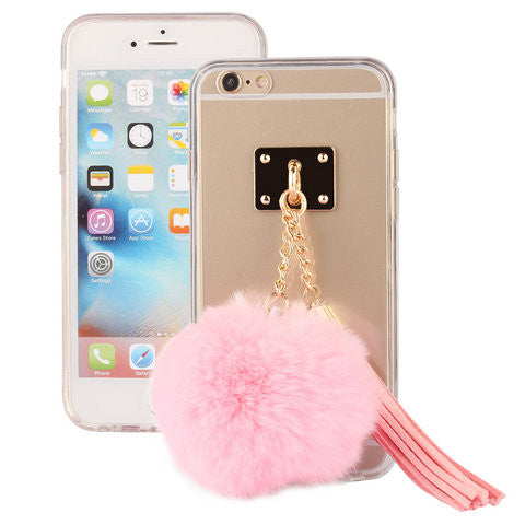 TPU phone back cover with colorful plush fur ball pendant phone cases for iPhone 6 4.7inch - CELLRIZON
