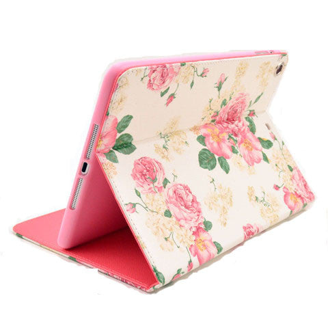 Pink Flower Leather Case for iPad Air - CELLRIZON