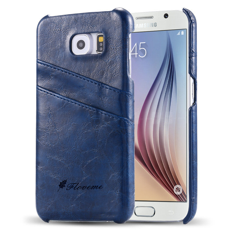 PU Oil wax lines plug-in card Case for Samsung Galaxy S6 - CELLRIZON