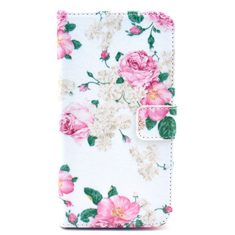 White flower Stand Leather Case For Samsung S5 - CELLRIZON