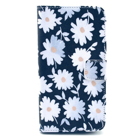 Black Flower Stand Faux Leather Case for Samsung S5 - CELLRIZON