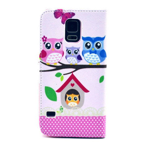 Cat family Stand synthetic Leather Case for Samsung S5 - CELLRIZON