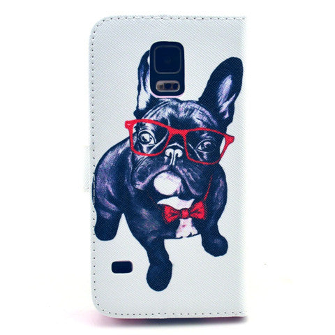 Glasses dog Stand Leather Case For Samsung S5 - CELLRIZON