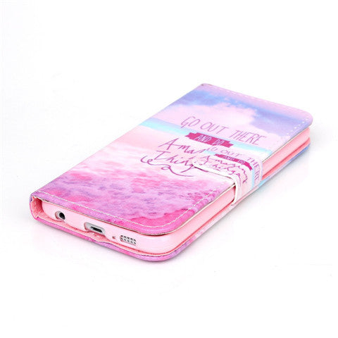Pink Stand Leather Case For Samsung S6/S6 Edge - CELLRIZON