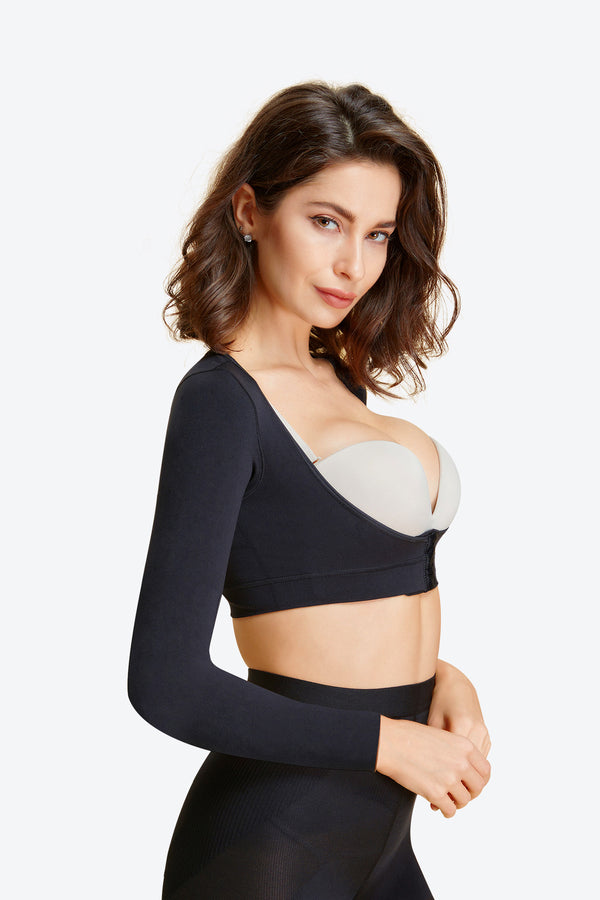 Arm Compression Bust Enhance Seamless Top Shaper with Long Sleeved