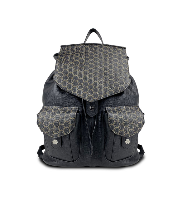 OTRANTO LEATHER BACKPACK WITH HEXAGON PATTERN (MEN)