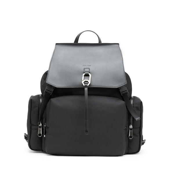 MARSALA LEATHER AND TECHNICAL FABRIC BACKPACK (MEN)