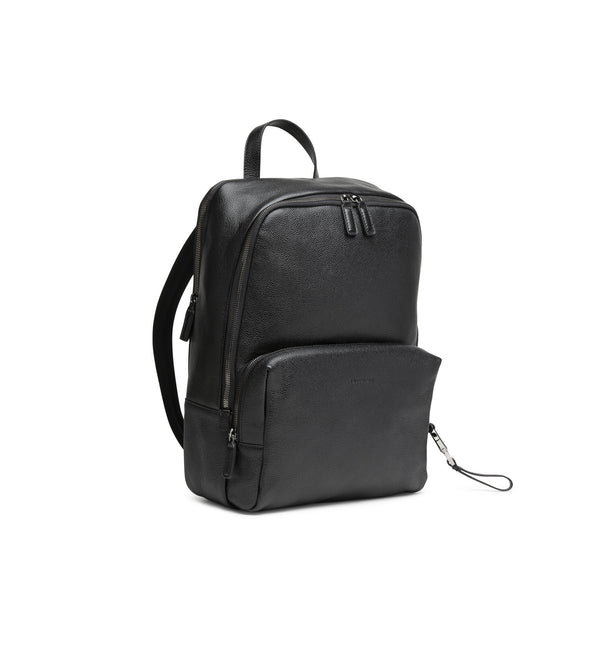 SIRACUSA BLACK HAMMERED LEATHER BACKPACK (MEN)