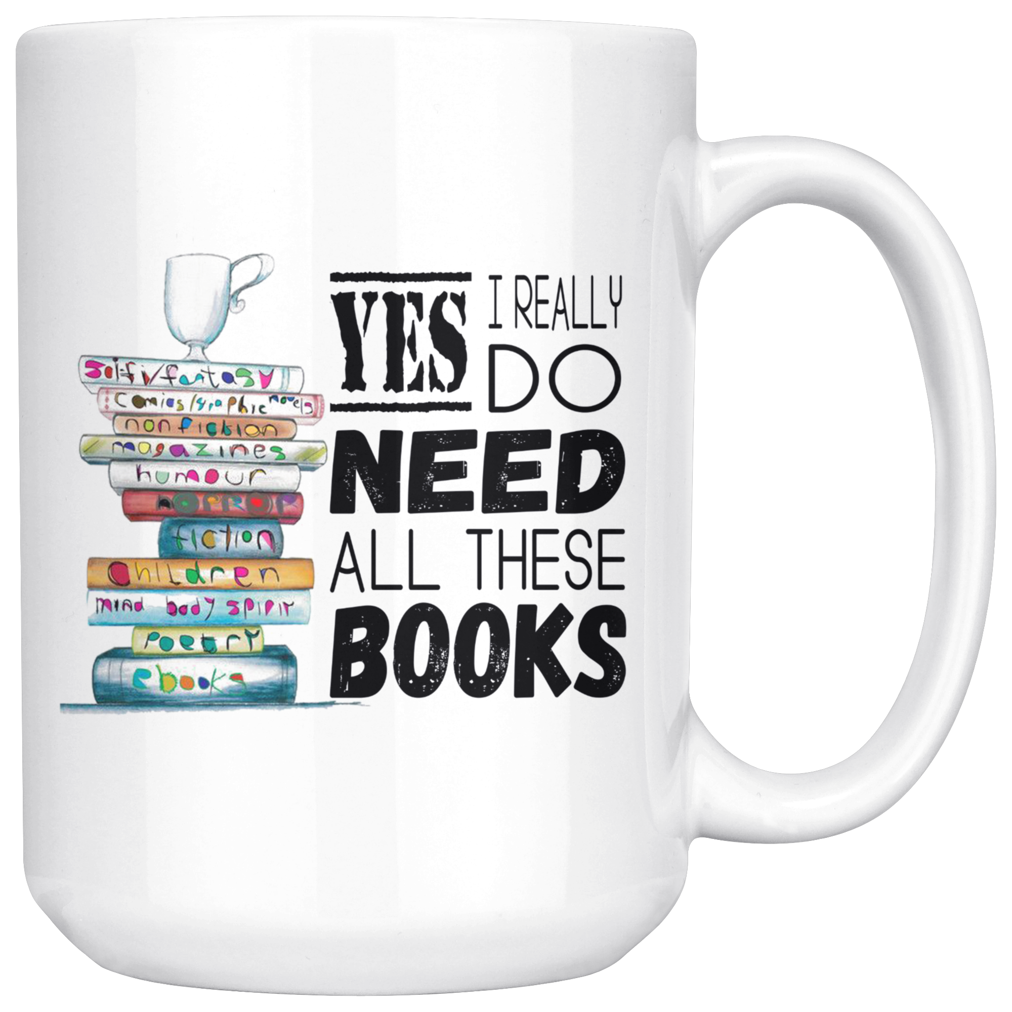 Yes I Need All These Books Funny Book Lovers Mug