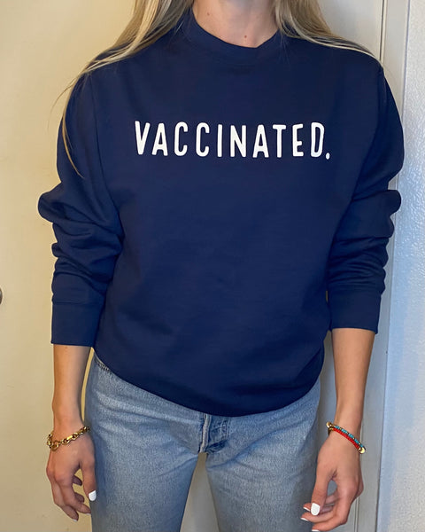 VACCINATED. Collection Crewneck Sweatshirt - NAVY