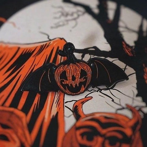 "Flying Jack o'lantern 1.5"" Soft Enamel Pin"