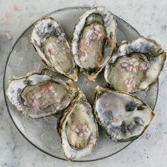 A dozen fresh English Oysters by Pinney's of Orford available on Barbury Hill