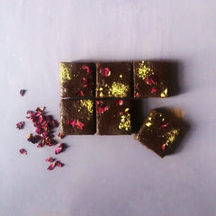 Pistachip and Rose brownies by Baked by Beth