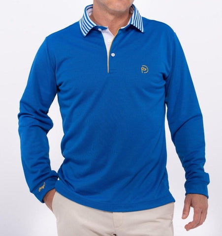 Polo térmico azul royal, cuello multirraya