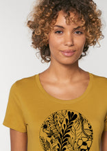 Load image into Gallery viewer, Ladies fitted 'Floral Infinity Circle' tee in mustard yellow