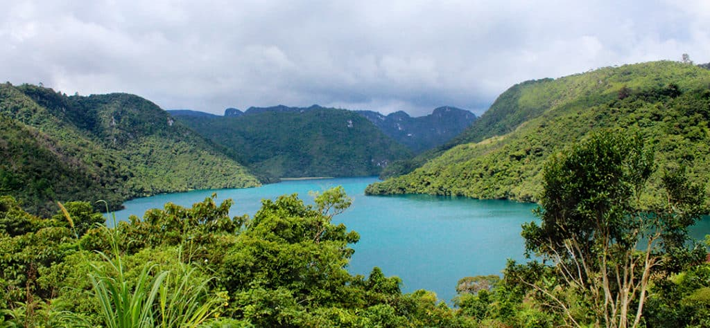 Lake in Huehuetenango surrounded by mountains