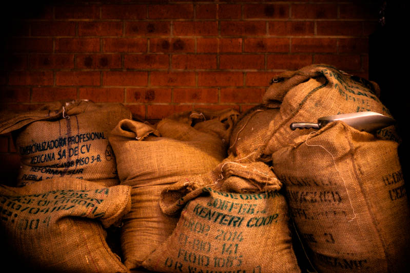 coffee beans in hessian bags