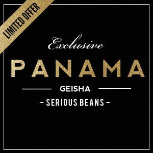 Panama Geisha coffee in gold lettering serious beans and exclusive