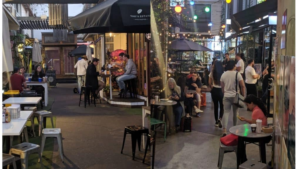 coffee festival Winn Lane and Bakery Lane end of night at brisbanes fortitude valley